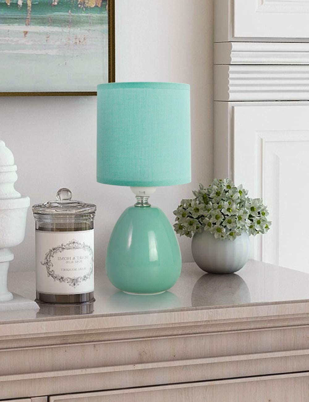 Petrala Table Lamp Small Modern Mid Century Green Teal Blue Ceramic Light with Shades for Living Room Bedroom Office Home Decor Christmas Gifts
