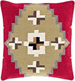Diva At Home 22'' Cherry Red and Toffee Brown Square Throw Pillow - Down Filler