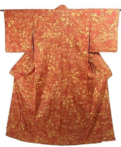 泥棒拡大する嫌がるリサイクル 着物 染め紬 山茶花の花模様 正絹 袷 裄64cm 身丈162cm