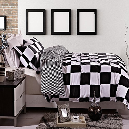 3 Pieces Black and White Grid Reversible Printed