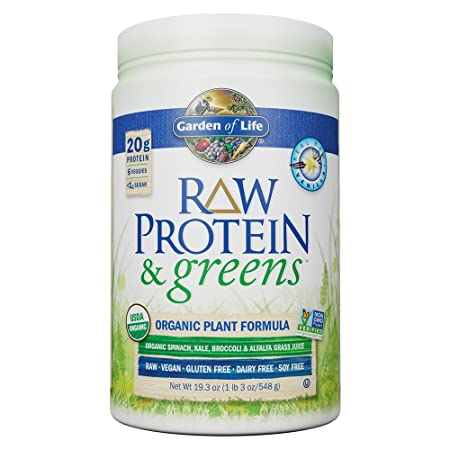 Garden of Life Greens and Protein Powder – Organic Raw Protein and Greens with Probiotics Enzymes, Vegan, Gluten-Free, Vanilla, 19.3oz 1lb 3 oz 548g Powder,Package may vary