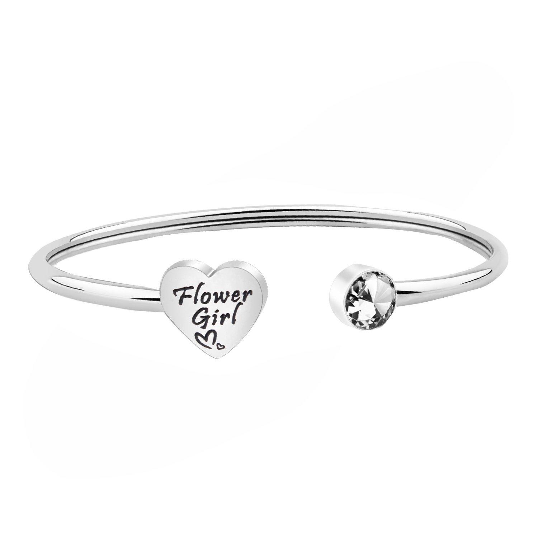 ENSIANTH Flower Girl Bracelet Wedding Party Gift Flower Girl Pearl Bracelet Childrens Kids jewelry (Cuff Bracelet)