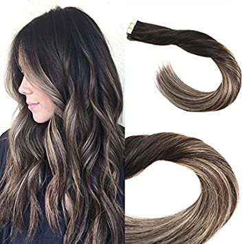 Amazon Com Sunny 14inch Tape In Hair Extensions Human Hair Full