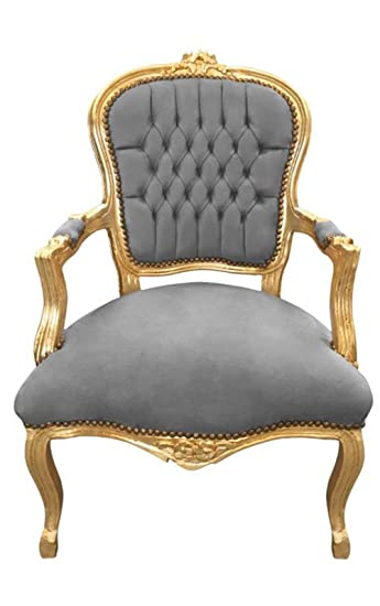 Amazon Com Luxe Furniture Baroque Armchair Grey Velvet On Gold