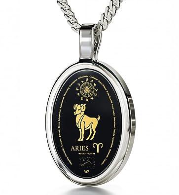 Amazon 925 silver zodiac pendant aries necklace inscribed in 925 silver zodiac pendant aries necklace inscribed in 24k gold on onyx stone 18quot aloadofball Choice Image