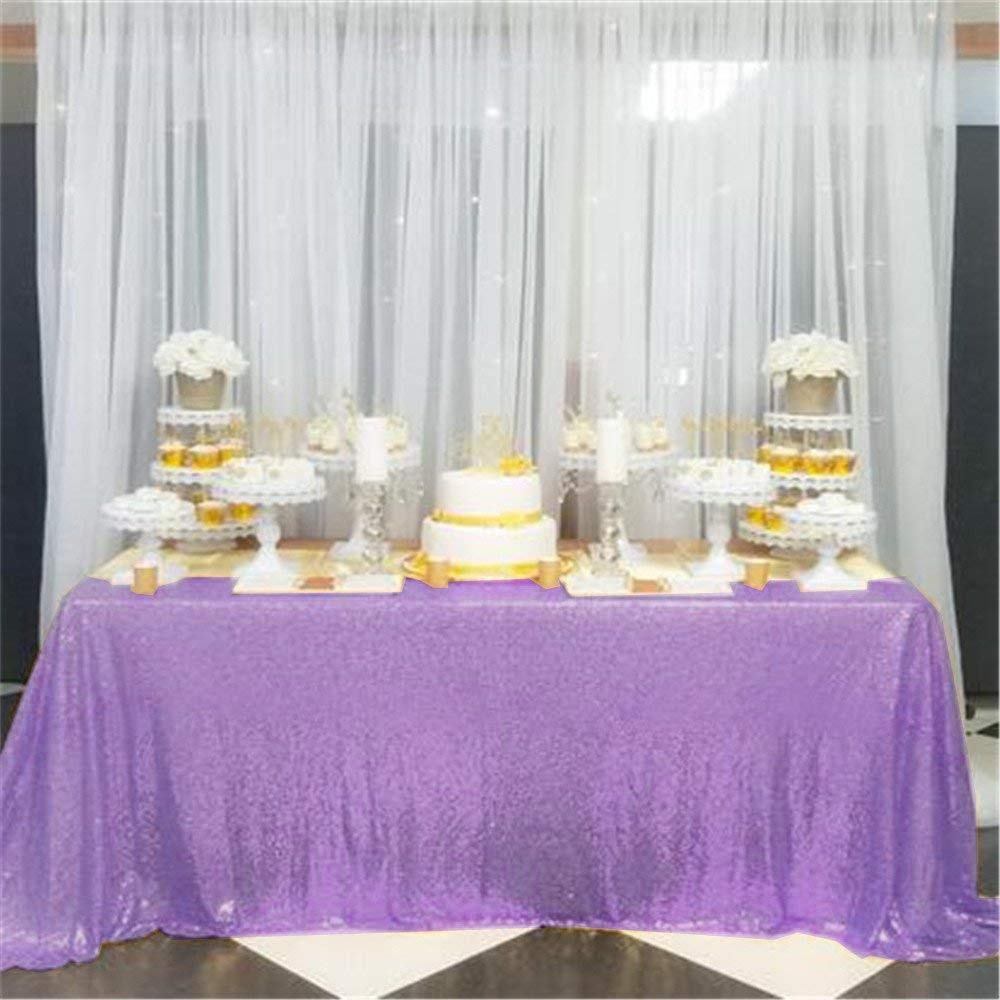 QueenDream 90x156'' Rectangle Sequin Tablecloth for Party Cake Dessert Table Exhibition Events, Lavender