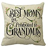 Best Mother's Day Gifts Best Moms Get Promoted To Grandmas Blessing Flower Characters Cotton Linen Throw Pillow Case Cushion Cover Home Office Decorative Square 18 X 18 Inches