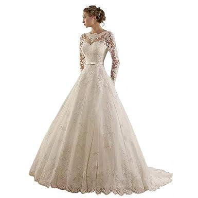 5de609eb7b QueenBridal Women's Jewel Lace Applique Long Sleeve Court Wedding Dress  Ball Gown QB-474 Ivory