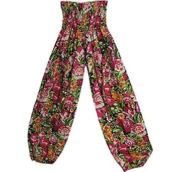 Indian Cotton Pink and Black Floral Print Bohemian Yoga Harem Gypsy Pants