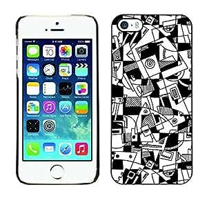 [Neutron-Star] Snap-on Series Teléfono Carcasa Funda Case Caso para iPhone 5 / 5S [Arte Líneas Hand Drawn Blanco Negro]