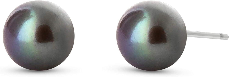 QP Joyero negro Natural pendientes del perno prisionero de la perla en 9ct oro blanco, corte redondo 4.0ct - 2841 W