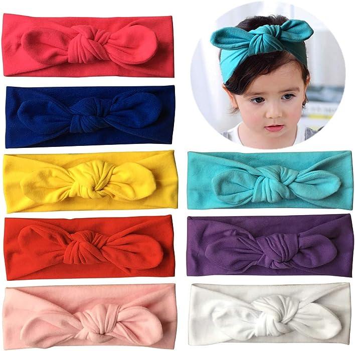 Qandsweet Baby Hairband Girl Elastic Hair Accessories Headbands (8 Pack  Solid Bunny Ears) b459fde5d3c