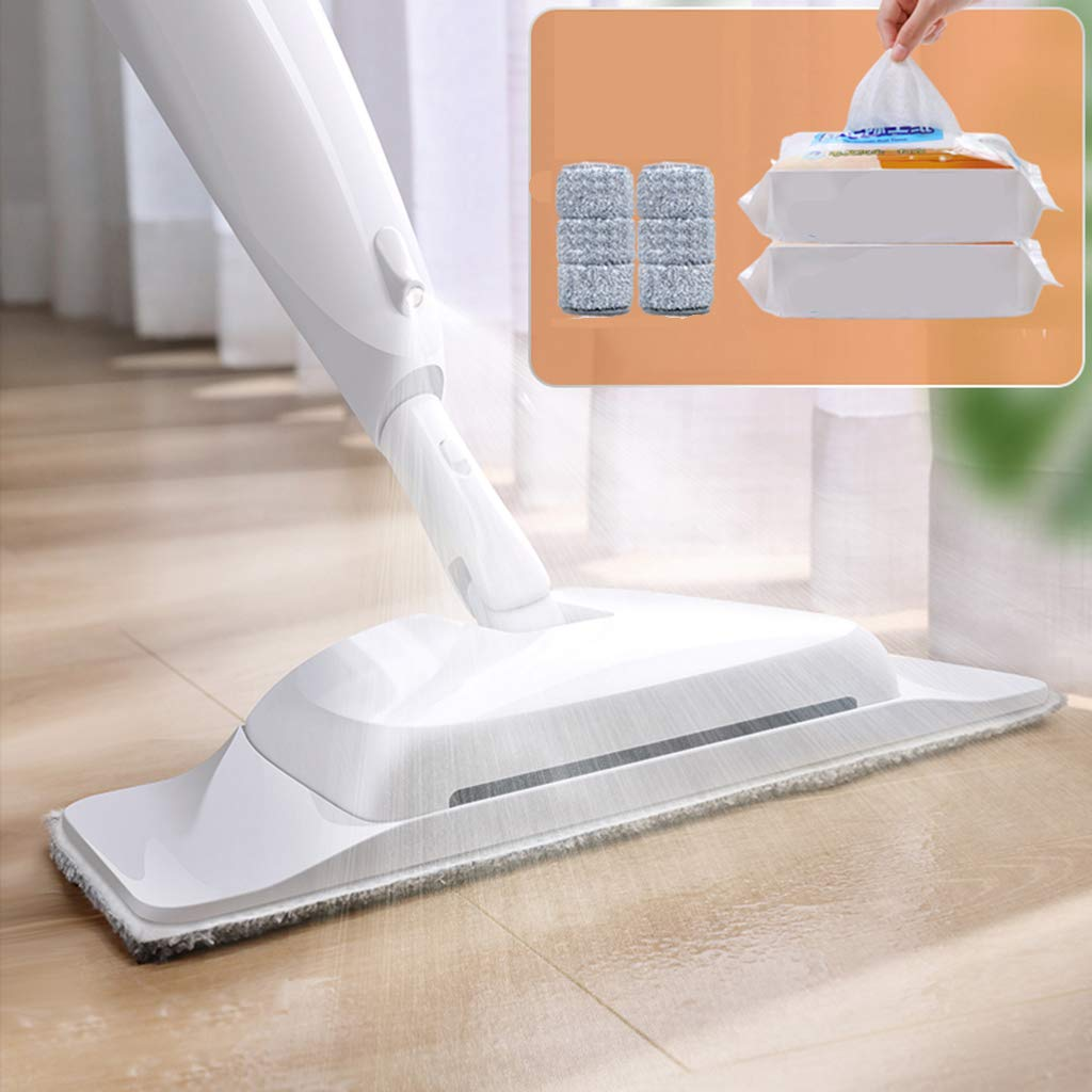 Mop and Sweeper with 2 Mop Cloths + 25 Pieces of Dust Paper Wet Mop Microfiber Mop Dry Mop Sweeper Home Bathroom Hardwood Laminate Cleaning,White by DDayuer