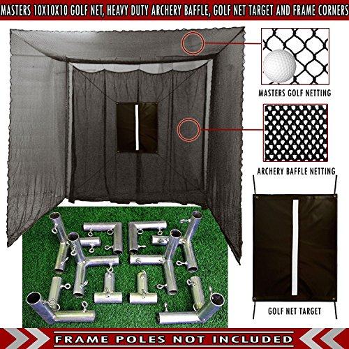 Cimarron 10x10x10 Masters Golf Net (Net and Frame Corners, -