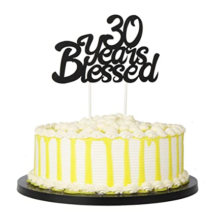 PALASASA Black Single Sided Glitter 30 Years Blessed Cake Topper