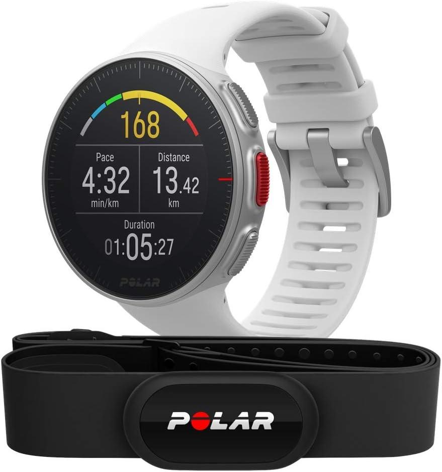 Polar Vantage V HR -Reloj premium con GPS y Frecuencia cardíaca - Sensor H10 - Multideporte y perfil de triatlón - Potencia de running, batería ultra larga, resistente al agua - Blanco