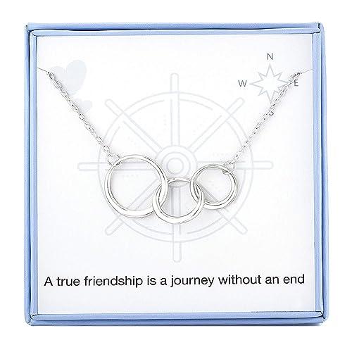 Amazon.com: Collar de amistad de plata de ley con círculos ...