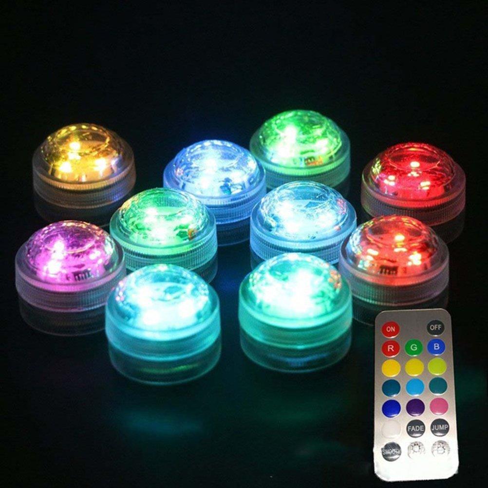 Luces Subacu/áticas con Pilas Impermeables del LED con Teledirigido Decoraci/ón Floral del Banquete de Boda LEDMOMO Luces Sumergibles del LED