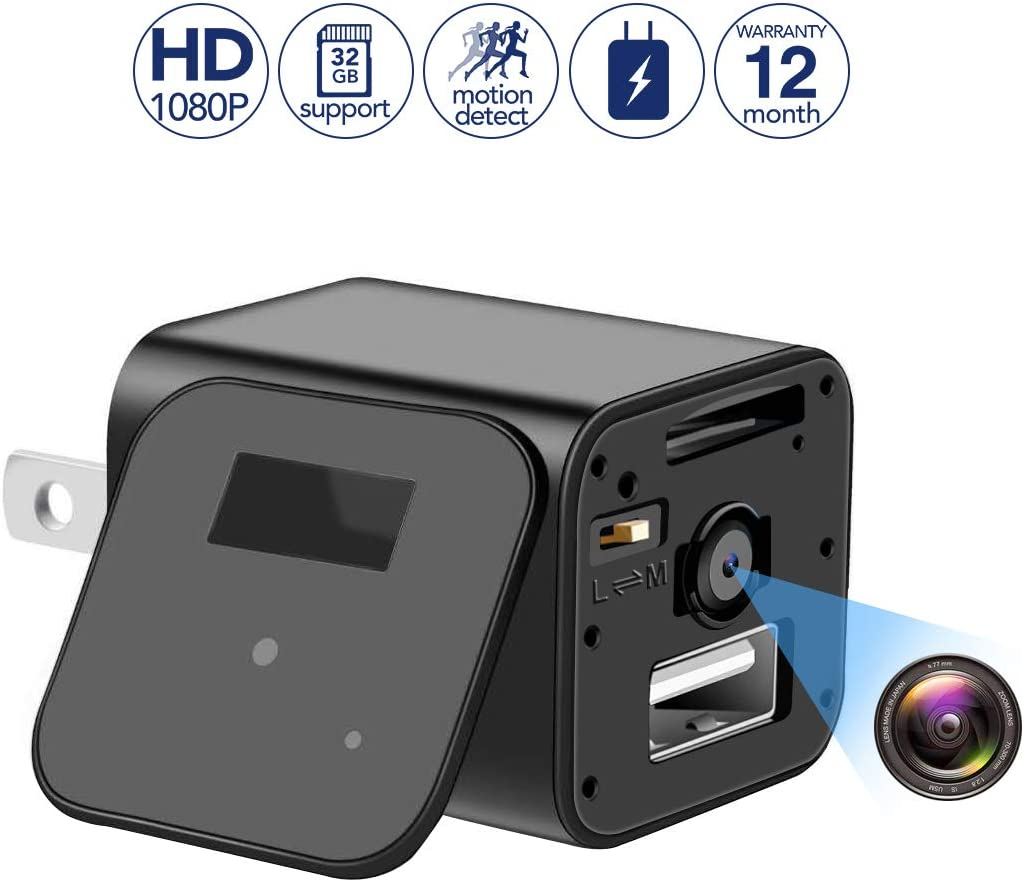 Mini Spy Camera Wall Charger Camera - 1080P HD USB Hidden Camera Adapter with Motion Detection, Mini Video Recorder for Home/Office Surveillance,Support 32GB Internal Memory(SD Card Not Included)
