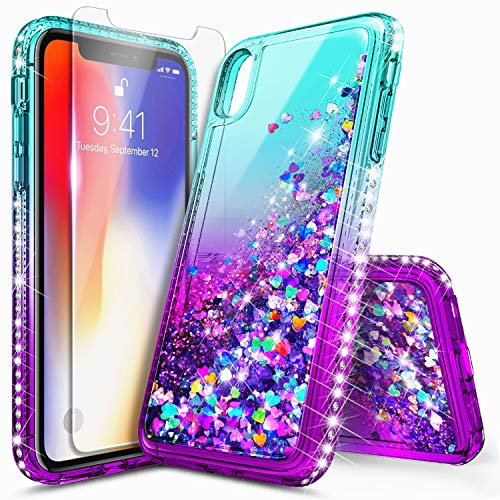 iPhone Xs Case, iPhone X Glitter Case with Tempered Glass Screen Protector for Girls Women, NageBee Bling Floating Liquid Waterfall Sparkle Durable Cute Case for iPhone X/XS 5.8 Inch -Aqua/Purple ()