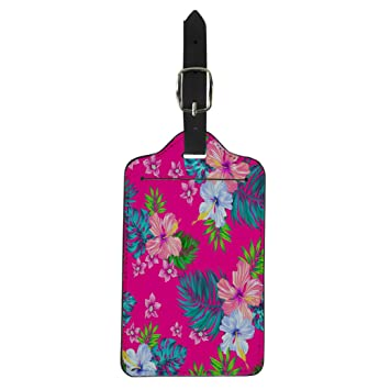 Tropical Exotic Style Pattern Leather Round Luggage Tags Suitcase Labels Bag