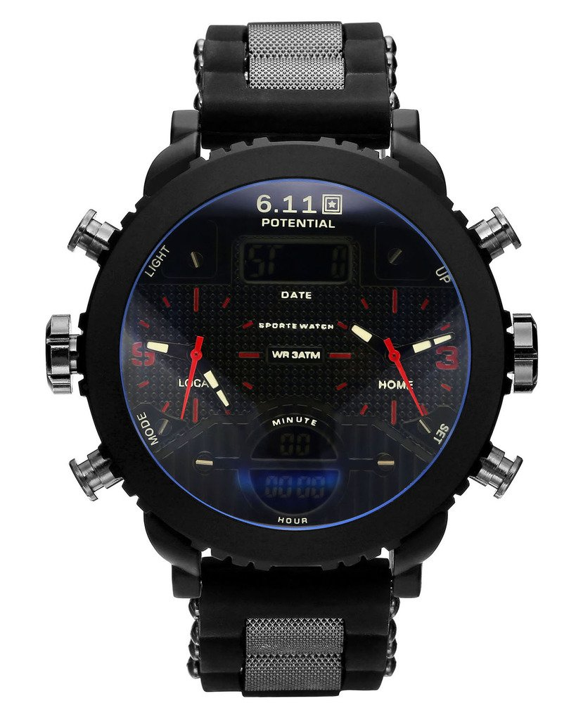 Top Plaza Men's Digital Electronic Silicone Band Waterproof LCD Sport Watch Casual Quartz Military Multifunction Back Light 30M Water Resistant Calendar Month Date Day-Red