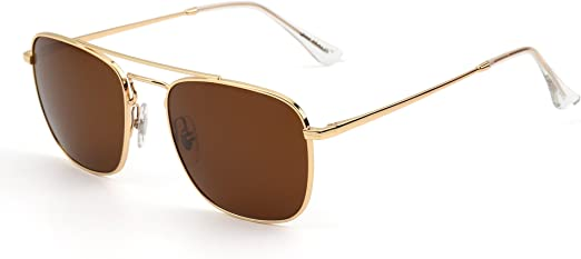 Retro Square Aviator Sunglasses Premium Glass Lens Flat Metal Eyewear Men Women