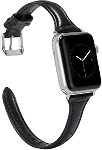 Wearlizer Black Thin Leather Compatible with Apple Watch Bands 42mm 44mm for iWatch SE Womens Mens Slim Straps Thin Wristband Simple Cute Replacement (Silver Metal Clasp) Series 6 5 4 3 2 1 Sport