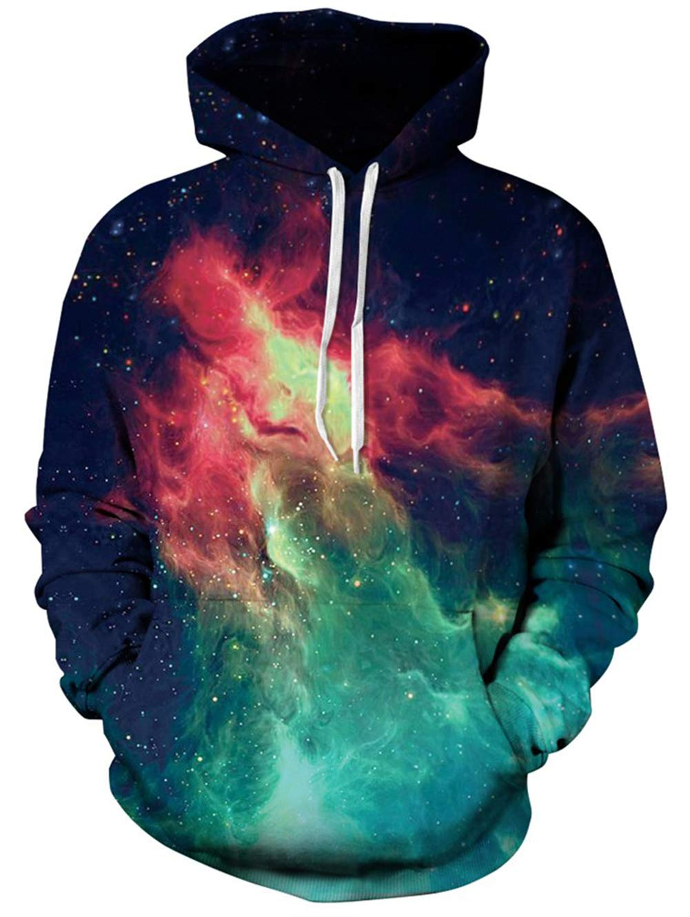 TUONROAD Mens Trendy Drawstring Trippy 3D Digital Print Hoodies Shirt Navy Blue Yellow Turquoise Green Galaxy Planet Nebula Universe Realistic Sweatshirt Athletic Pullover with Big Pocket Front