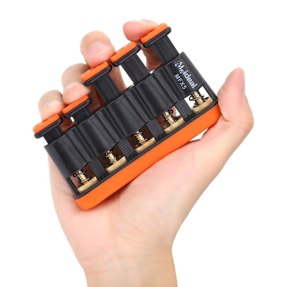 Dilwe Finger Exerciser, Finger Trainer Variable Hand Finger Strength Tension Exerciser Grip for Piano Guitar(Orange)