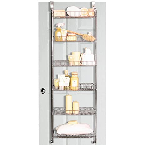 STORE   Metal Over Door / Back Of Door Bathroom Storage Rack   Silver:  Amazon.co.uk: Kitchen U0026 Home
