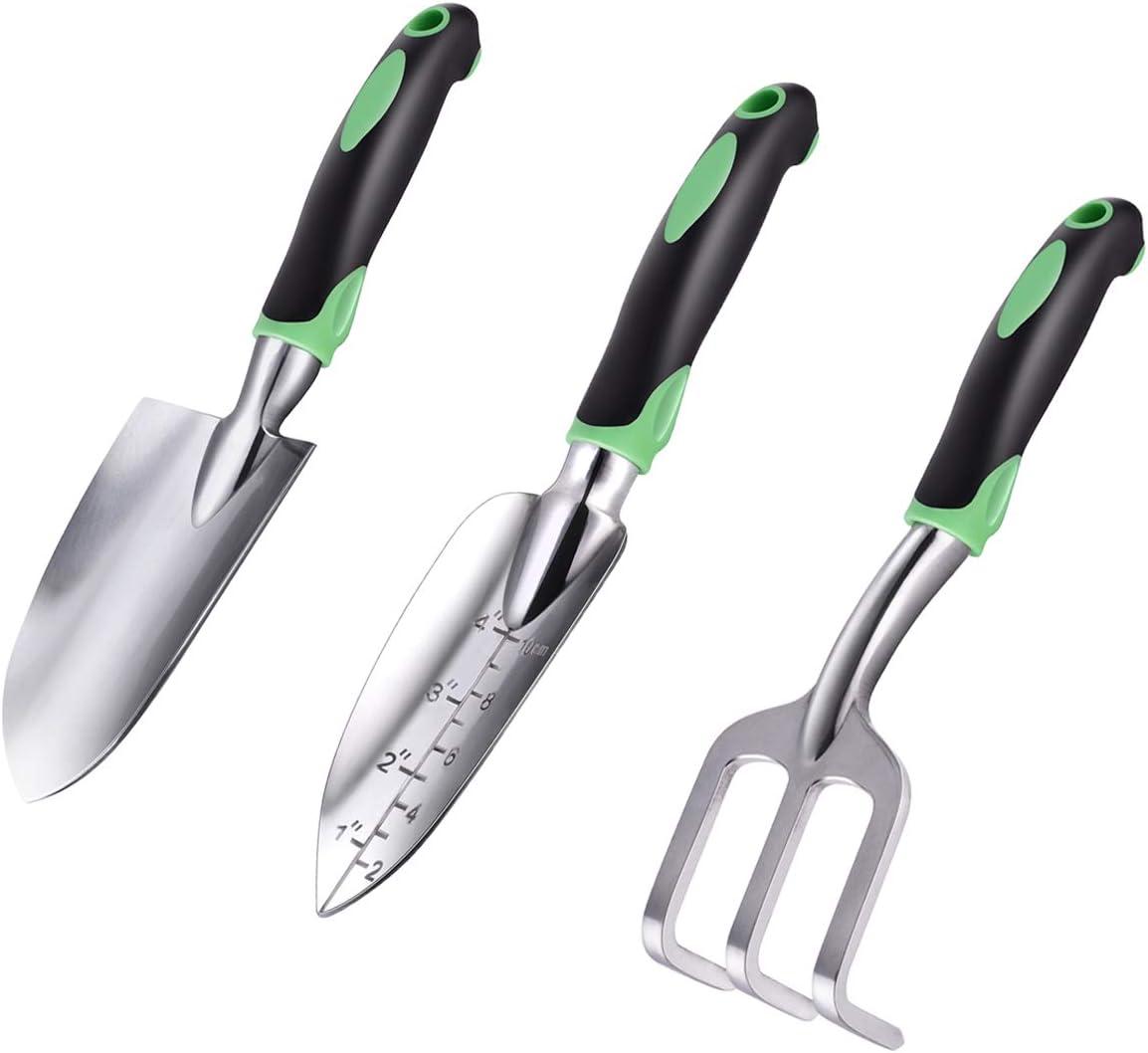 ZUZUAN Garden Tool Set, 3 Pack Garden Hand Shovels Aluminum Alloy Garden Trowels with Ergonomic Rubberized Non-Slip Grip, Included Trowel, Transplant Trowel and Cultivator Hand Rake : Garden & Outdoor