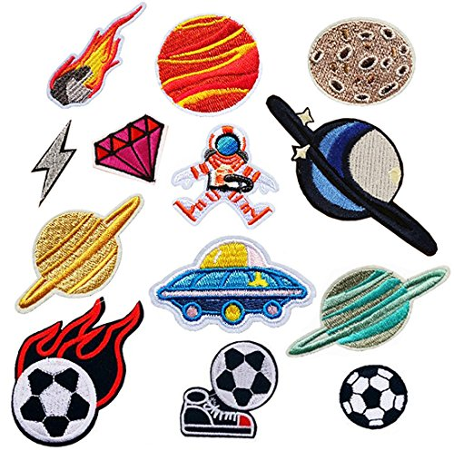Czorange Space patches Soccer Ball Iron On Embroidered Applique Patch 13Pcs - Soccer Ball Embroidered Iron