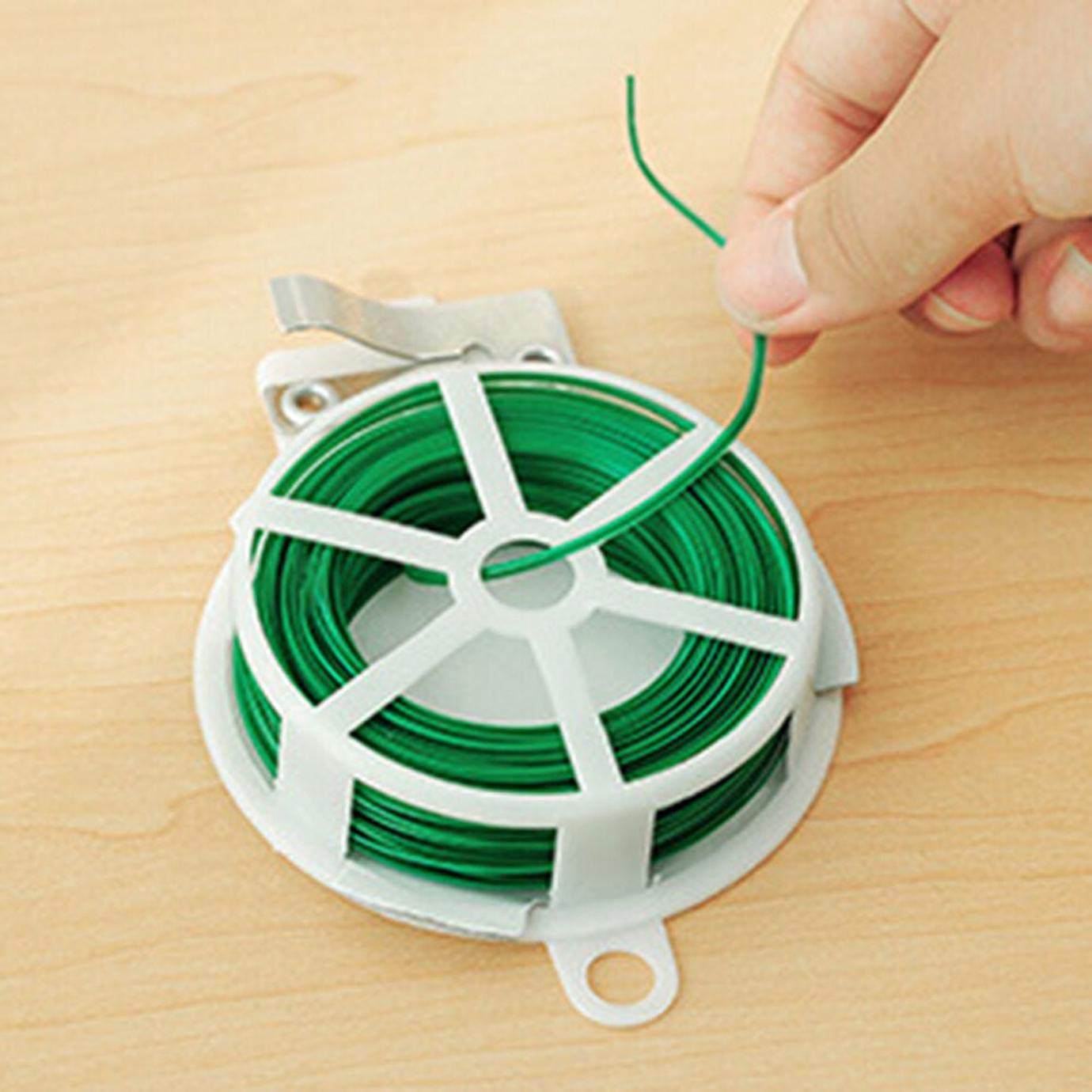 None Picture Color FUdeza Sturdy 328 Feet 100m Green Multi-Function Sturdy Garden Plant Twist Tie with Cutter//Cable Tie//Zip Tie//Coated Wire for Home Decoration