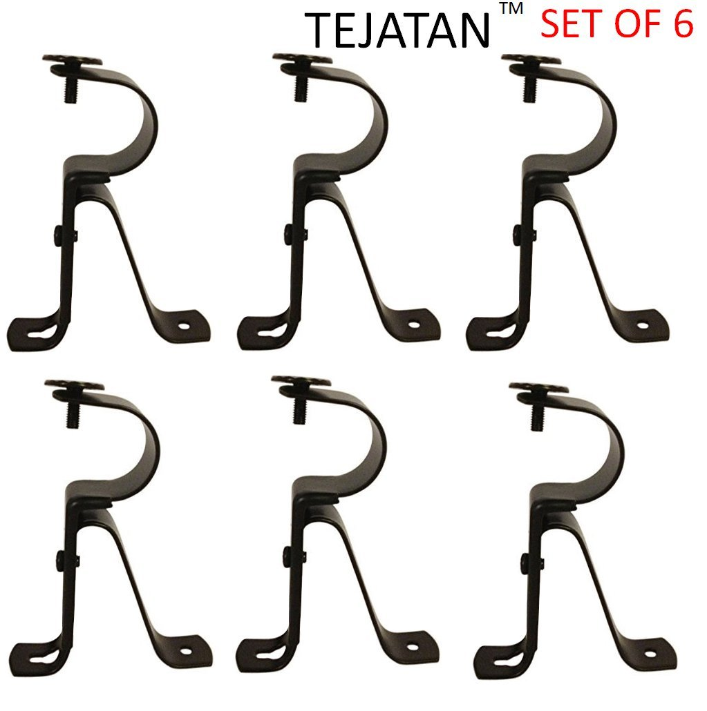 Curtain Rod Brackets - Black (Set of 6) -Adjustable (Also known as - Curtain rod Holder / Bracket for Drapery rod / Window Drapery rod bracket set for Draperies / adjustable curtain rod brackets)
