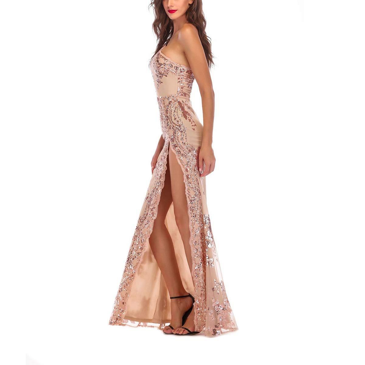 One Shoulder Sequin High Split Bodycon Maxi Sleeveless Evening Party Women Dress