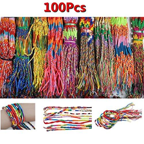 Wholesale Jewelry Lot Braid Strands Friendship Cords Handmade Bracelets(Randomly), Gbell (100Pcs)