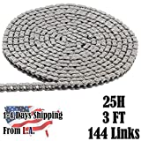 25H Heavy Duty Chain 3 FT with 1 Connecting Link, for Scooter, Mini Bike, GoKart