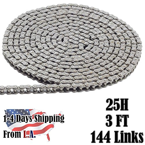 (25H Heavy Duty Chain 3 FT with 1 Connecting Link, for Scooter, Mini Bike,)