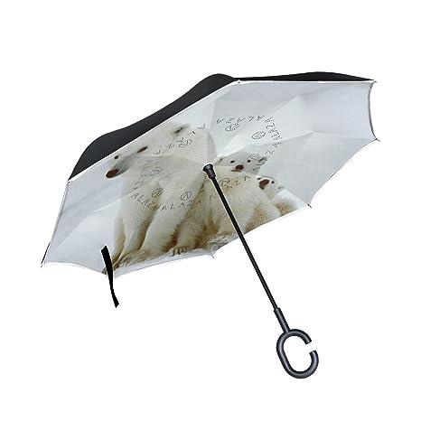COOSUN Polar ella-lleve con los cachorros de la capa doble del paraguas invertido inversa
