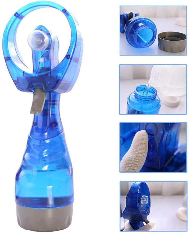 Handheld Electric Mini Fan Portable Air Cooling Fan Summer Cooler 300Ml Water Bottle Steam Spray Cool Mist Maker for Outdoor,Blue