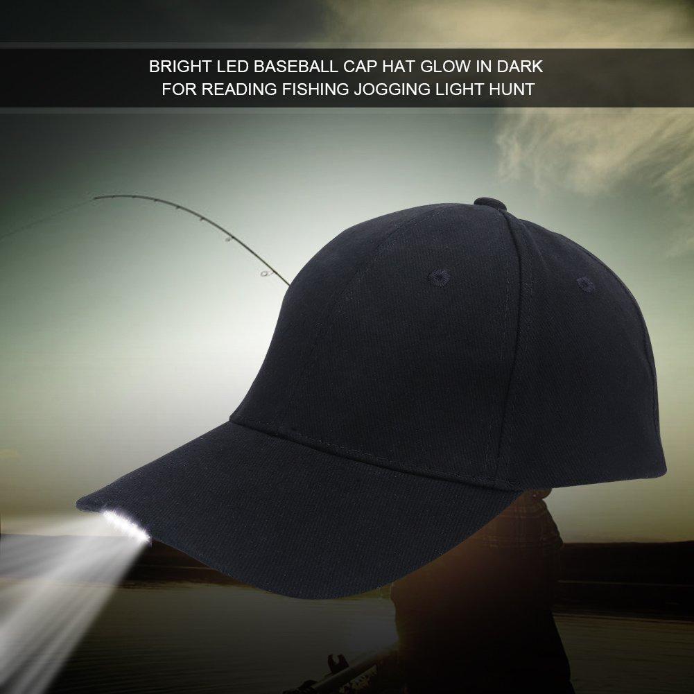 Dilwe LED Baseball Cap, Ultra Bright Lights Easily Adjustable Headlight Flashlight Baseball Cap for Hunting Fishing Camping Hiking Jogging Angling Unisex(Black) by Dilwe