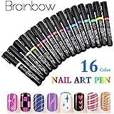 ShopAlfa 16 Colors 3D Nail Art Pen Painting Design UV Gel Polish Pens DIY Decoration Beauty Tools Manicure (00BS-124)
