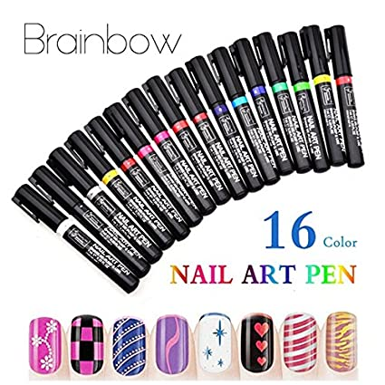Buy 16 Colors 3d Nail Art Pen Painting Design Nail Tools Uv Gel