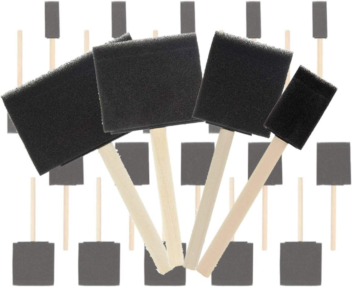 Stains Crafts Great for Acrylics Lightweight Varnishes Paint Sponges,NCTP 20 Pack 1-4 Different Size Variety Pack Foam Sponge Wood Handle Paint Brush Set Durable