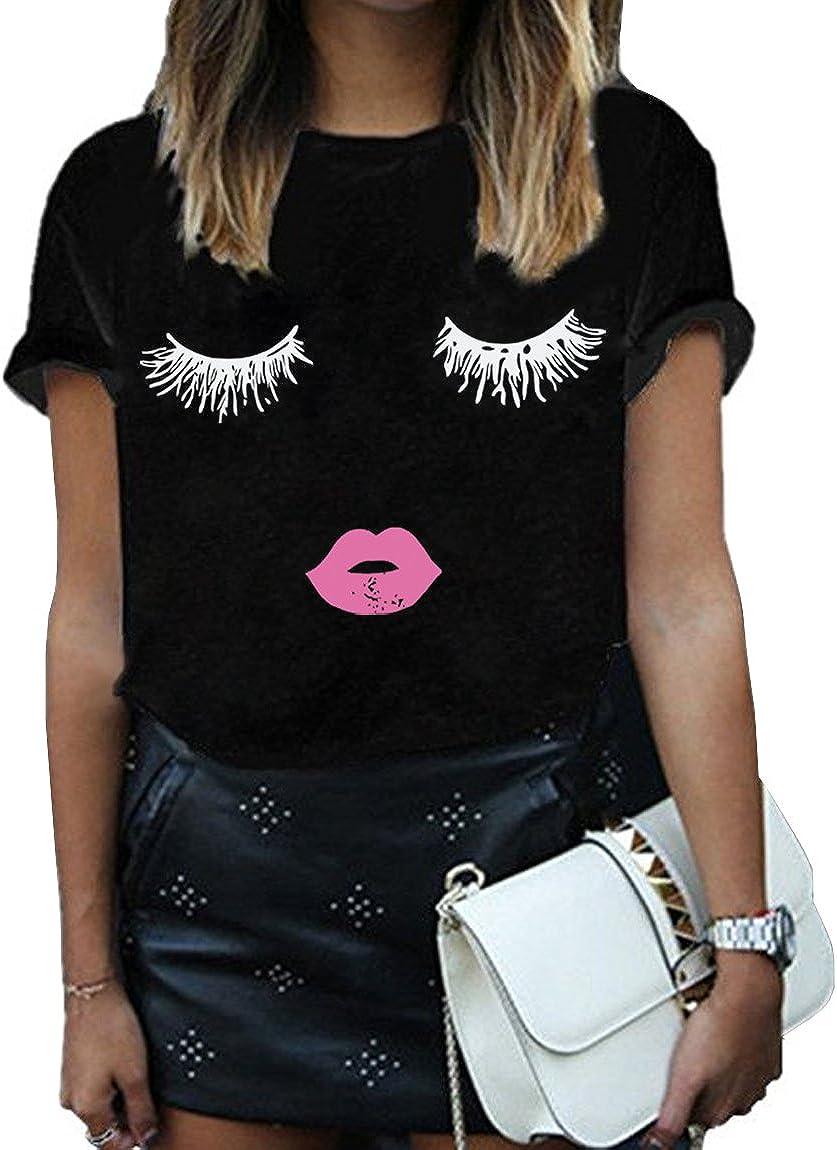 BLACKMYTH Women Summer Funny Print Short Sleeve Top Tee Graphic Cute T-Shirt