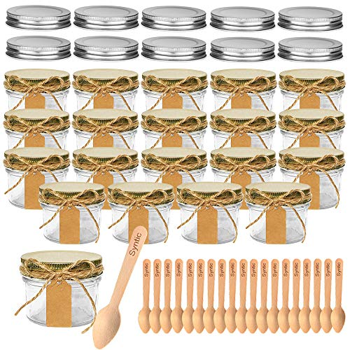 Syntic 20 Pieces 4 oz Small Mason Jars/Spices Jars, Glass Jars with Gold Lids, Perfect for Jam, Honey, Spices, DIY and Art, Extra 10 Silver Lids, Tag Strings, 20 Disposable Wooden Spoons Included