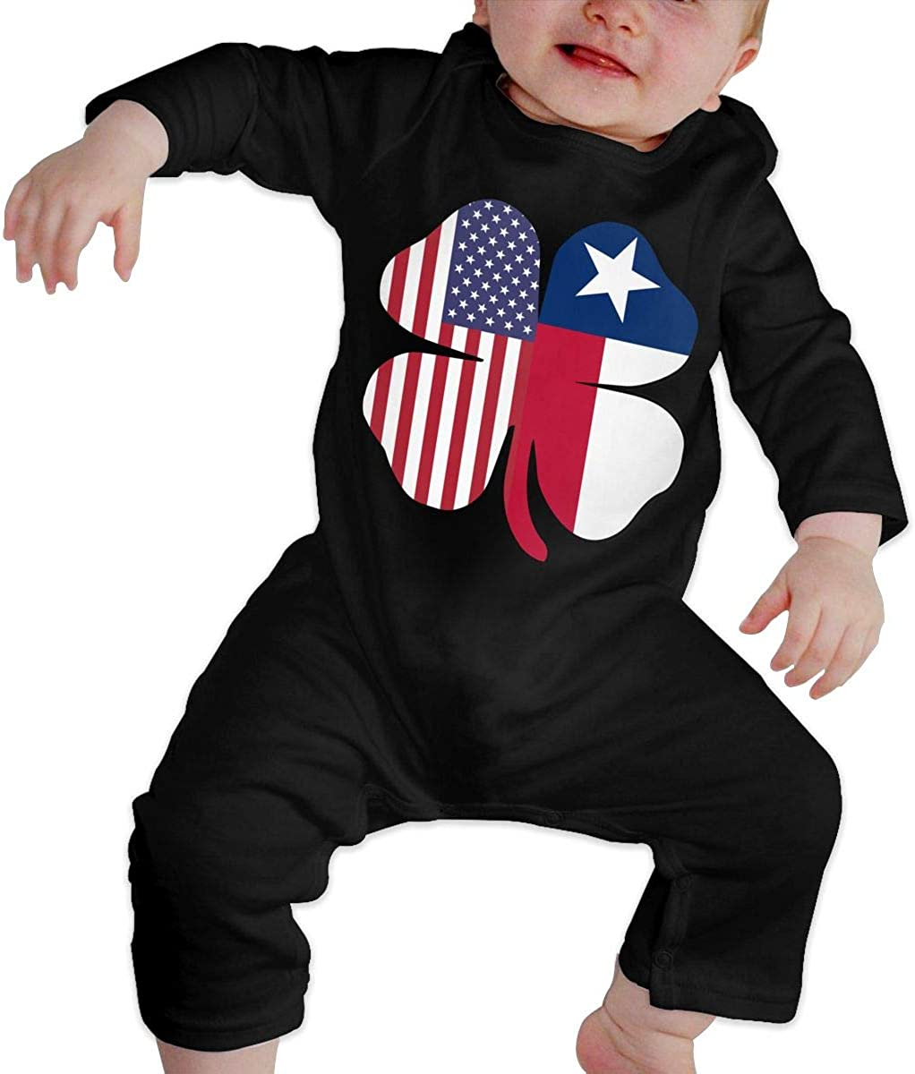 American Texas Flag Shamrock Organic One-Piece Bodysuits Coverall Outfits BKNGDG8Q Toddler Baby Boy Romper Jumpsuit