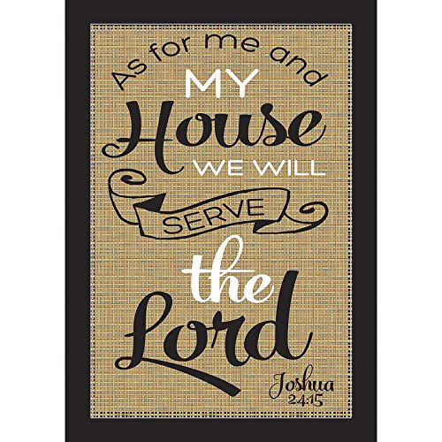 We Will Serve the Lord Joshua 24:15 Burlap on Black 18 x 13 Rectangular Small Garden Flag ()