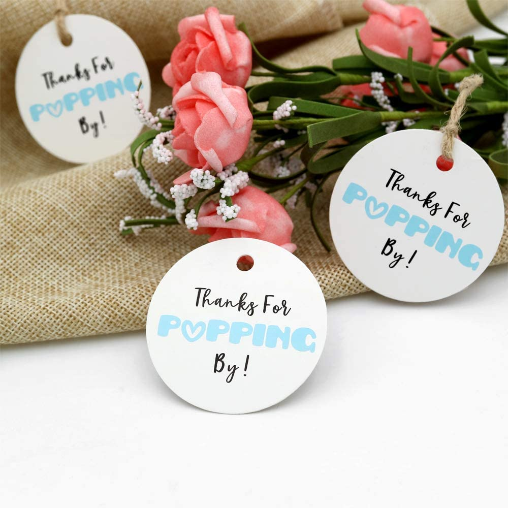Baby Shower Tags,Thanks for Popping by Gift Tags,5cm Round Blue Tags,100PCS Paper Tags for Wedding Party Favors with 100 Feet Jute Twine